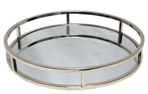 Art Deco Round Mirror Tray - Silver - Large