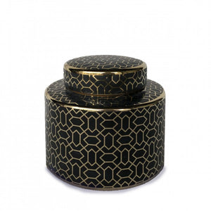 Barga Ceramic Jar - Black & Gold - Small