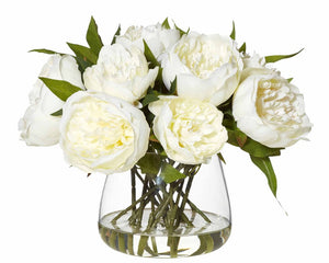 Peonies in classic Glass Bowl - White