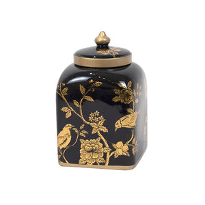 Japonaire Black & Gold Ceramic Jar - Small