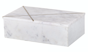 Dynasty Marble Box - White with Gold