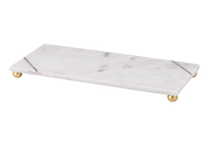 Dynasty Marble Footed Tray - White with Gold