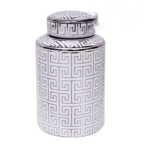 Electra Temple Jar - Silver & White - Tall
