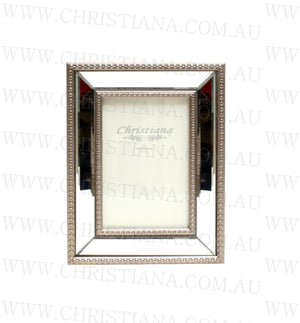Beaded Glass Photo Frame - Pewter - 10cm x 15cm