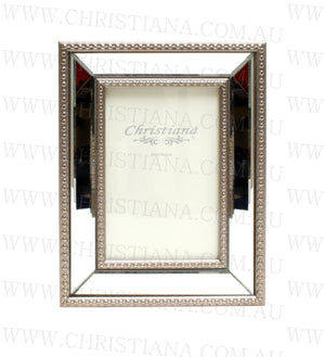 Beaded Glass Photo Frame - Pewter - 13cm x 18cm