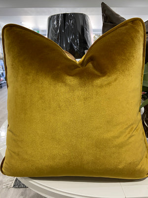 Mariah Velvet Cushion - Antique Gold - 55cm