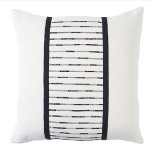 Modern Stripe Black-Ivory Cushion - Square
