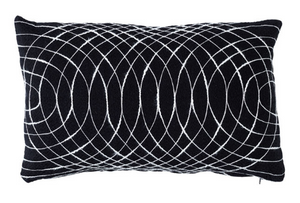 Modern Swirls Black-Ivory Cushion - Rectangle
