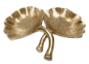 Double Ginkgo Leaf Plate - Gold