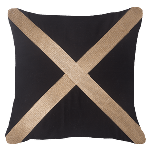 Braid Cross Cushion - Black Gold - 55cm