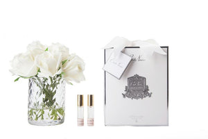 Perfumed Flowers - Clear Herringbone Vase - Ivory Rose Buds - White Box