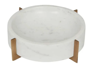 Gianni Marble Bowl on Brass Stand - White