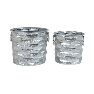Preston Silver Metal Planters - Set/2