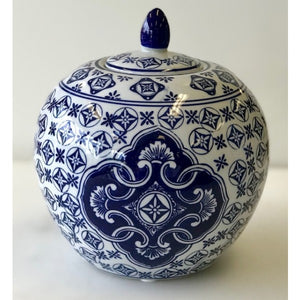 Blue & White 4 Point Ceramic Pumpkin Jar