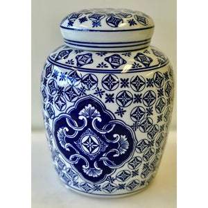 Blue & White 4 Point Ceramic Deco Jar