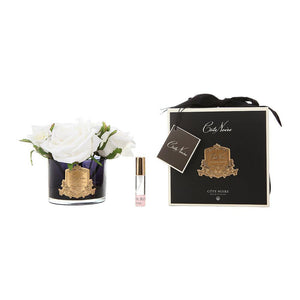 Perfumed Flowers - Natural Touch 5 Ivory Roses - Black Vase Gold Badge in Black Box