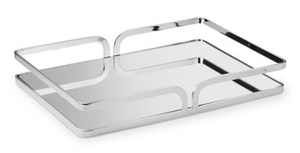 Cherie Silver Mirror Tray - Rectangle - Small