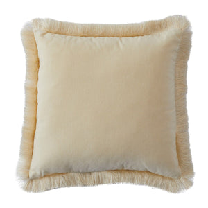 Clarissa Fringed Cream Velvet Cushion - Square