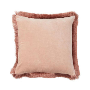 Clarissa Fringed Pink Velvet Cushion - Square
