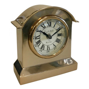 Rounded Top Vintage Metal Clock - Gold