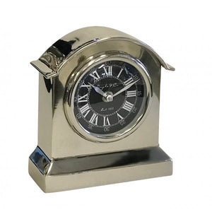 Rounded Top Vintage Metal Clock - Silver