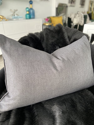 Oran Textured Linen Cushion - Charcoal - 40cm x 60cm