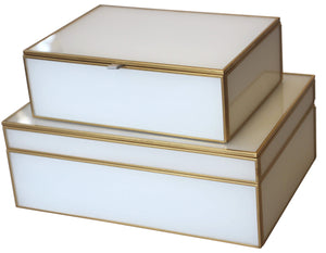 Glass Décor Box - White & Brass - Small