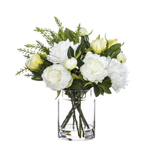 Peonies in Pail Vase - White