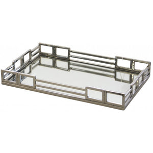 Double Buckle Metal and Mirror Tray - Rectagle