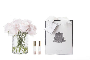 Perfumed Flowers - Clear Herringbone Vase - French Pink Rose Buds - White Box
