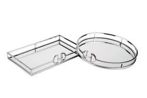 Hermes Silver Mirror Tray Rectangle - Small