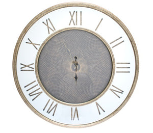 Round Mirror Wall Clock - Champagne Frame - 80cm