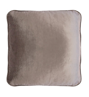 Coco Piped Velvet Cushion - Vintage Pebble