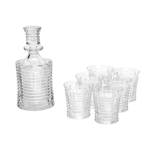 Fenwick  Glass Decanter & 6 Tumbler Set - Ribbed - Boxed
