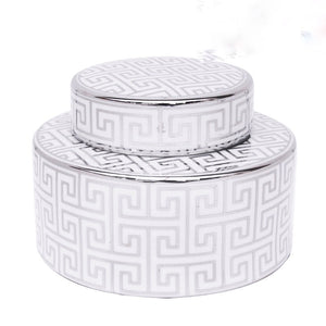 Electra Temple Jar - Silver & White - Short