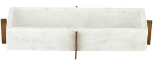 Gianni Marble Plate on Brass Stand - White