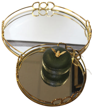 Equip Round Mirror Tray - Gold - Large