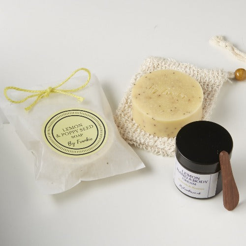 Lemon Gift Set - Lemon & Poppyseed Soap & Lemon Cream (*Vegan)