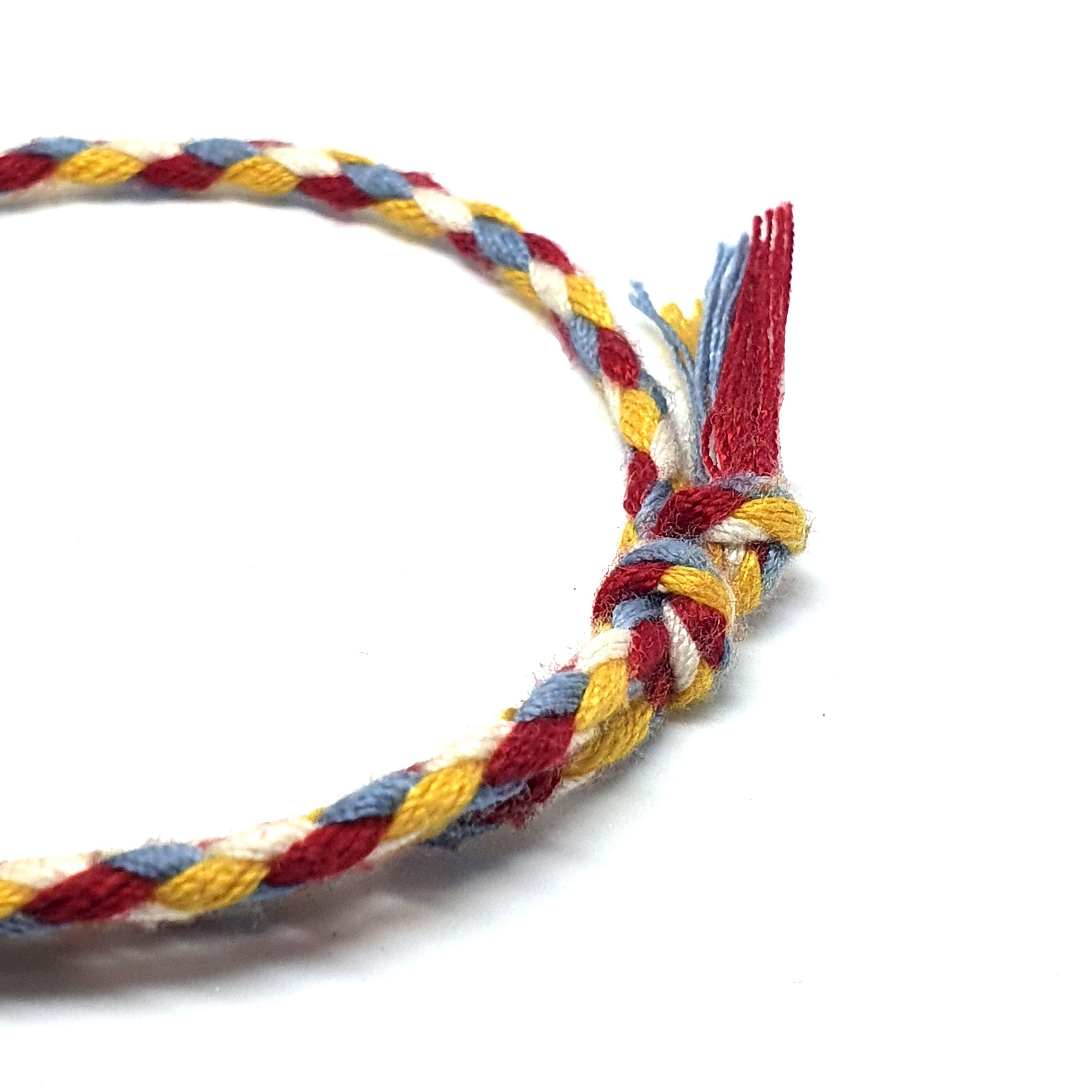 Four colour braided cotton bracelet