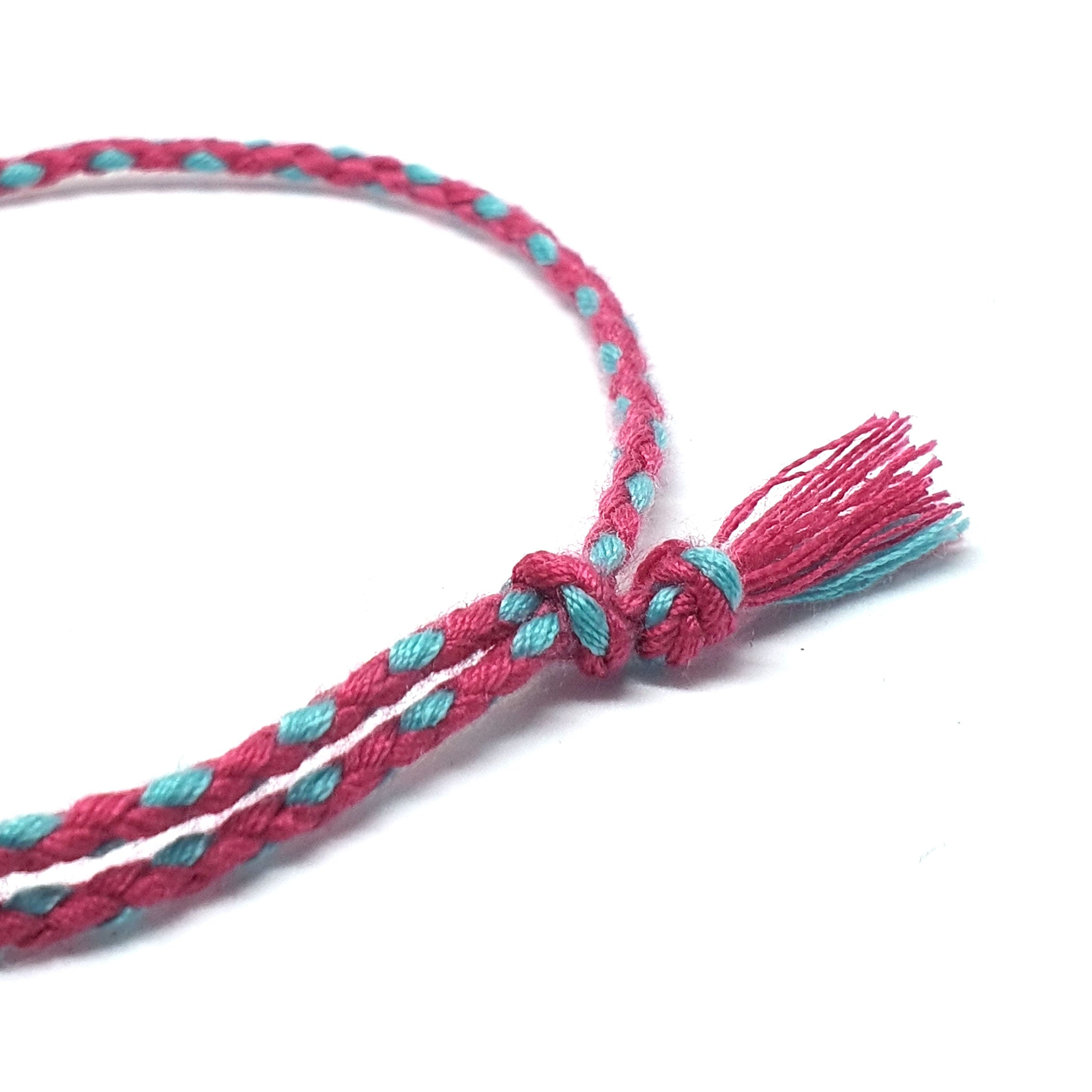 Pink & Turquise braided cotton bracelet