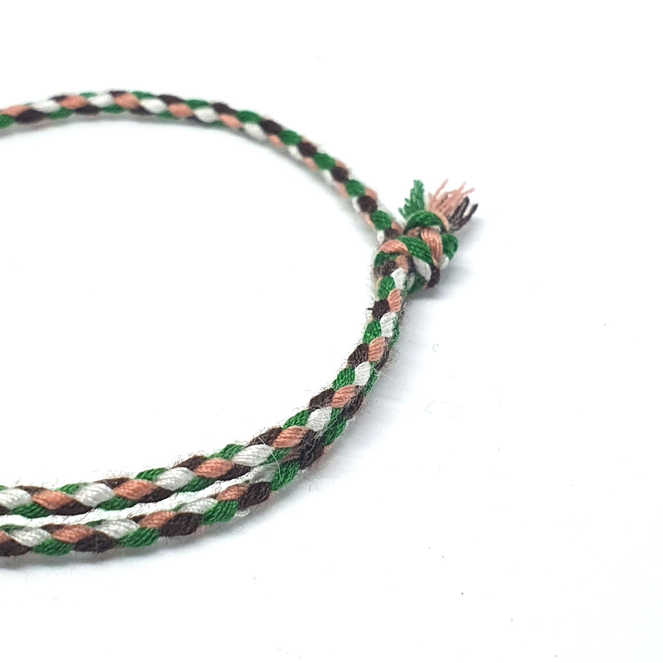 Tighly braided 4 colour bracelet