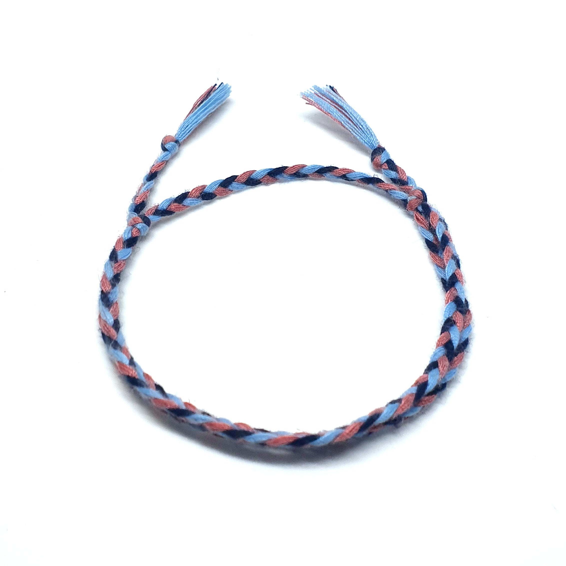 3 colour braided cotton bracelet