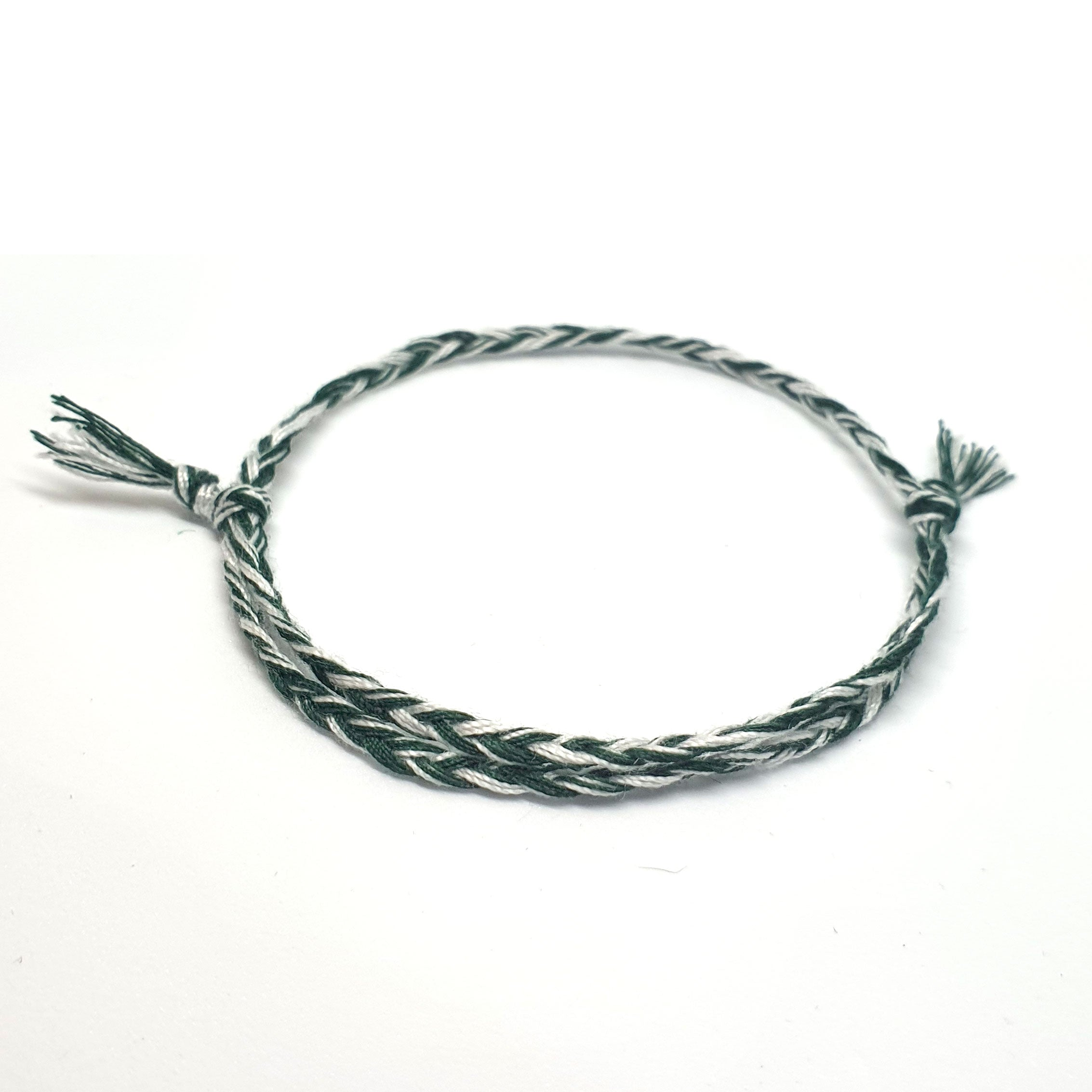 Lightweight green & white cotton bracelet