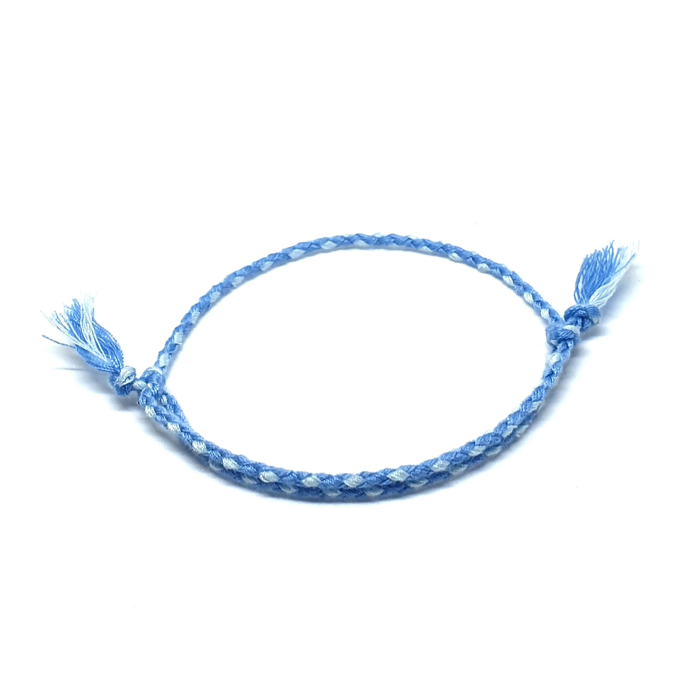 Light blue braided cotton bracelet
