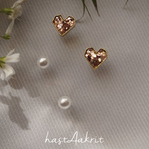 SPARKLE HEART STUD DUO