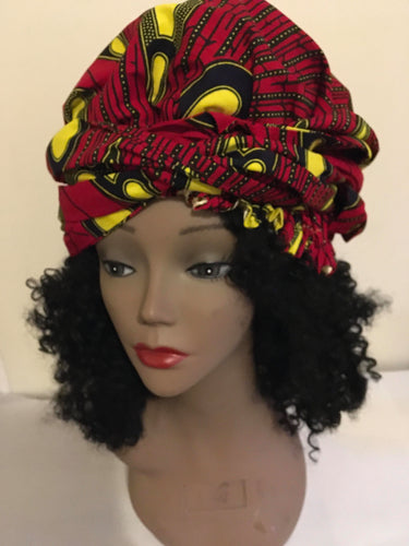 African Print Bonnet With Ties.
