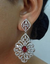 Load image into Gallery viewer, Red Stone Earrings