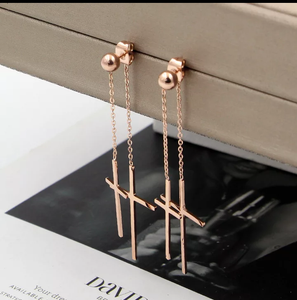 Tassel Double Cross Long Earrings