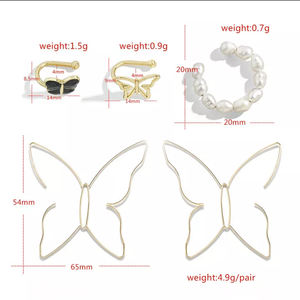 Pearl Butterfly Stud Earrings Set