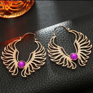 Hollow Wings Purple Rhinestone Earrings